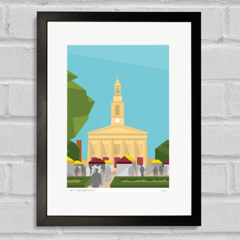 Place in Print West Norwood Feast Art Poster Print Black Frame
