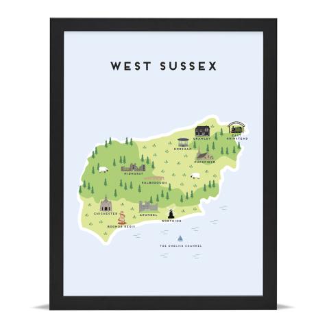 Place in Print Pepper Pot Studios West Sussex Illustrated Map Art Print Black Frame
