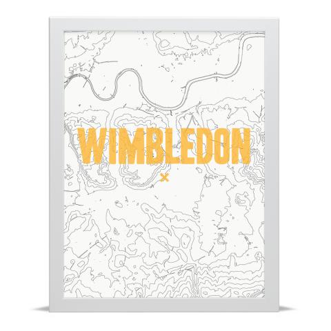 Place in Print Wimbledon Contours Gold Art Print White Frame