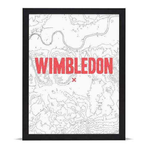 Place in Print Wimbledon Contours Red Art Print Black Frame