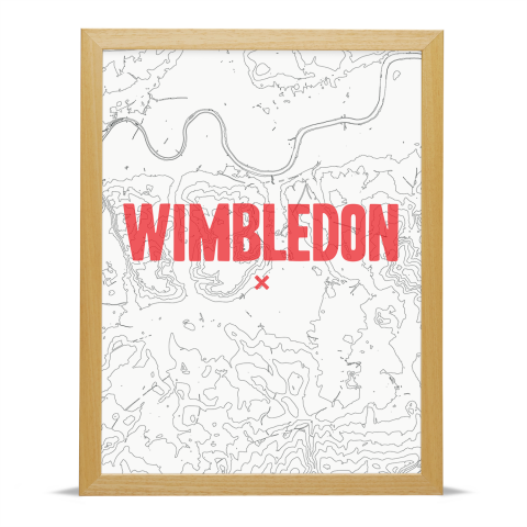 Place in Print Wimbledon Contours Red Art Print Wood Frame