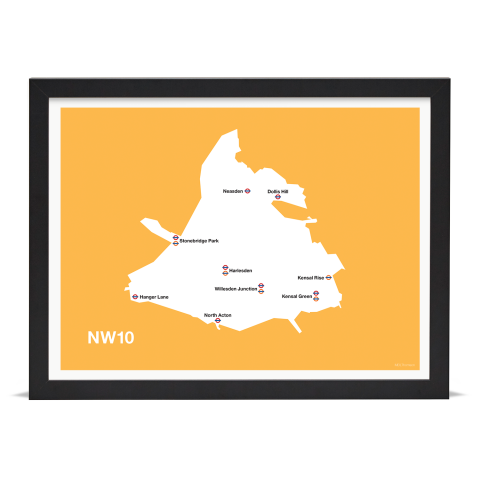 Place in Print MDL Thomson NW10 Postcode Map Yellow Art Print Black Frame