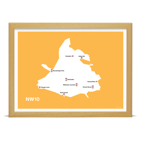 Place in Print MDL Thomson NW10 Postcode Map Yellow Art Print Wood Frame