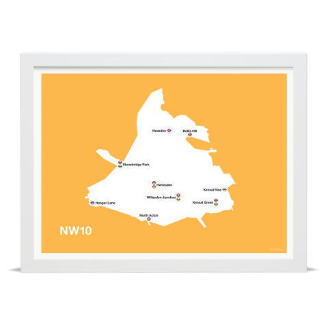 Place in Print MDL Thomson NW10 Postcode Map Yellow Art Print White Frame
