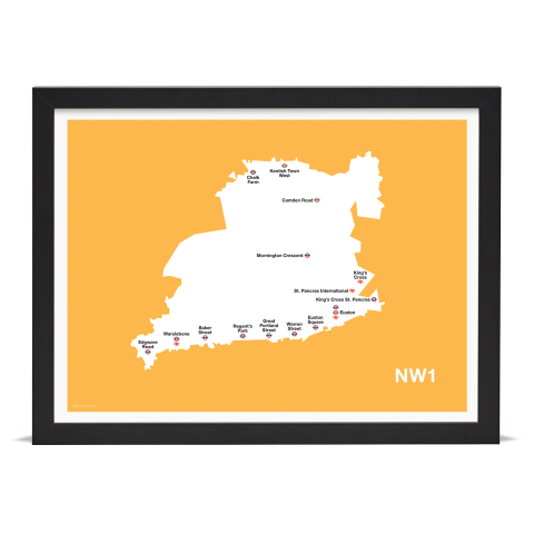 Place in Print MDL Thomson NW1 Postcode Map Yellow Art Print Black Frame