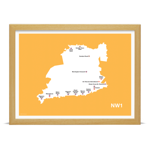 Place in Print MDL Thomson NW1 Postcode Map Yellow Art Print Wood Frame