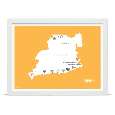 Place in Print MDL Thomson NW1 Postcode Map Yellow Art Print White Frame