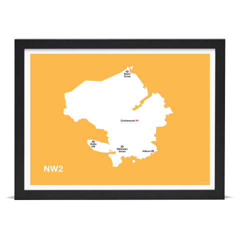 Place in Print MDL Thomson NW2 Postcode Map Yellow Art Print Black Frame