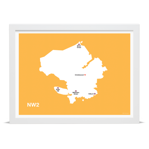 Place in Print MDL Thomson NW2 Postcode Map Yellow Art Print White Frame