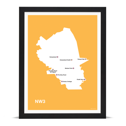 Place in Print MDL Thomson NW3 Postcode Map Yellow Art Print Black Frame