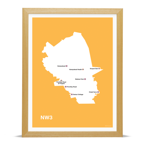 Place in Print MDL Thomson NW3 Postcode Map Yellow Art Print Wood Frame