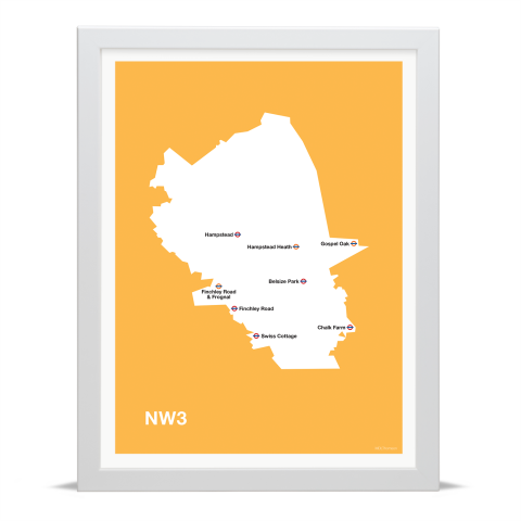 Place in Print MDL Thomson NW3 Postcode Map Yellow Art Print White Frame