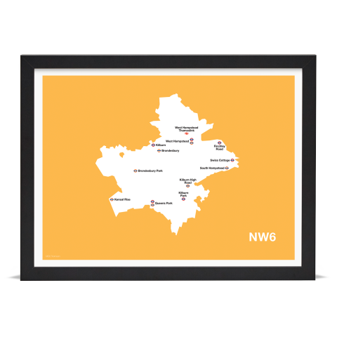 Place in Print MDL Thomson NW6 Postcode Map Yellow Art Print Black Frame