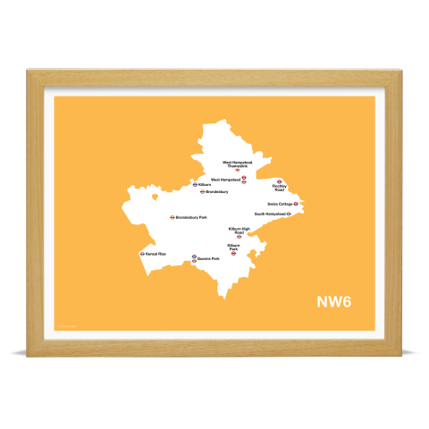 Place in Print MDL Thomson NW6 Postcode Map Yellow Art Print Wood Frame