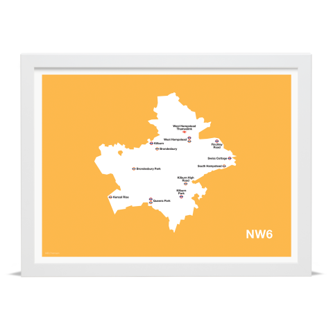 Place in Print MDL Thomson NW6 Postcode Map Yellow Art Print White Frame