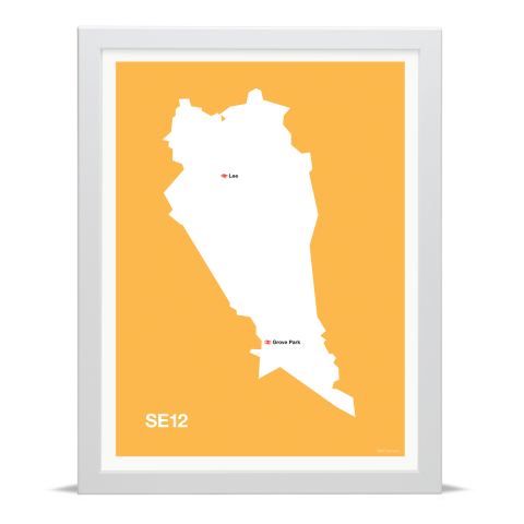 Place in Print MDL Thomson SE12 Postcode Map Yellow Art Print White Frame