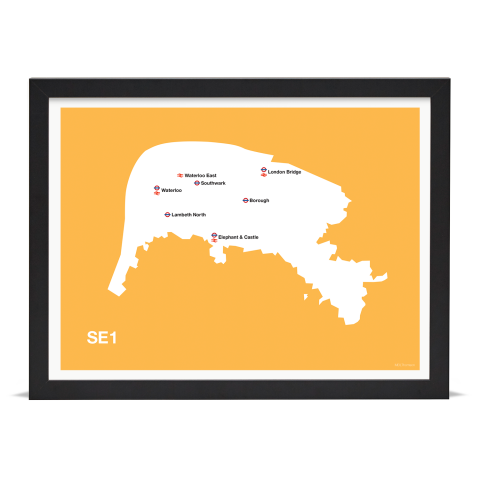 Place in Print MDL Thomson SE1 Postcode Map Yellow Art Print Black Frame