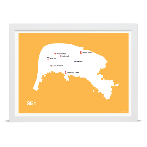 Place in Print MDL Thomson SE1 Postcode Map Yellow Art Print White Frame
