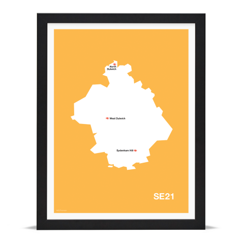 Place in Print MDL Thomson SE21 Postcode Map Yellow Art Print Black Frame
