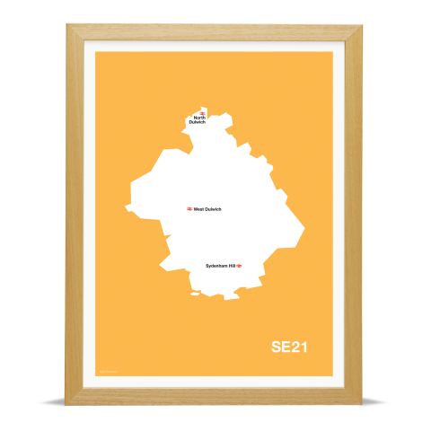 Place in Print MDL Thomson SE21 Postcode Map Yellow Art Print Wood Frame