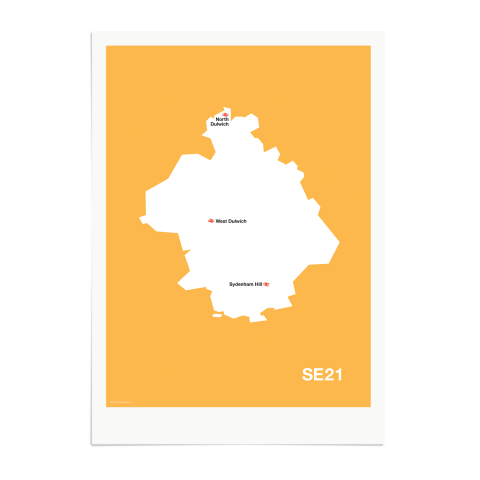 Place in Print MDL Thomson SE21 Postcode Map Yellow Art Print Unframed