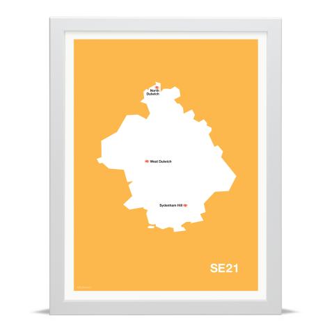 Place in Print MDL Thomson SE21 Postcode Map Yellow Art Print White Frame