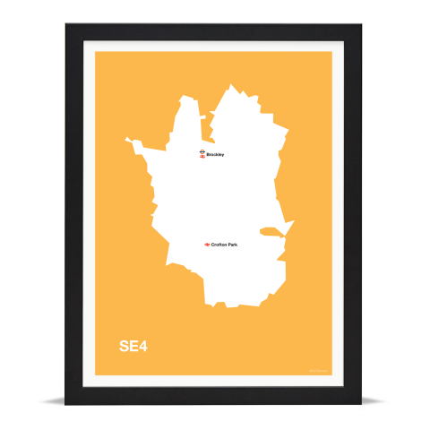 Place in Print MDL Thomson SE4 Postcode Map Yellow Art Print Black Frame