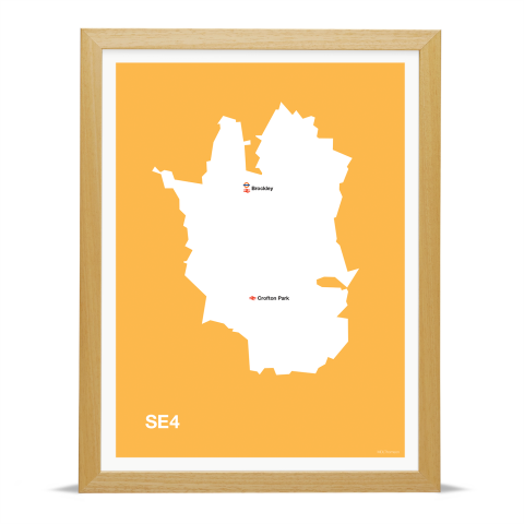 Place in Print MDL Thomson SE4 Postcode Map Yellow Art Print Wood Frame