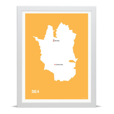 Place in Print MDL Thomson SE4 Postcode Map Yellow Art Print White Frame