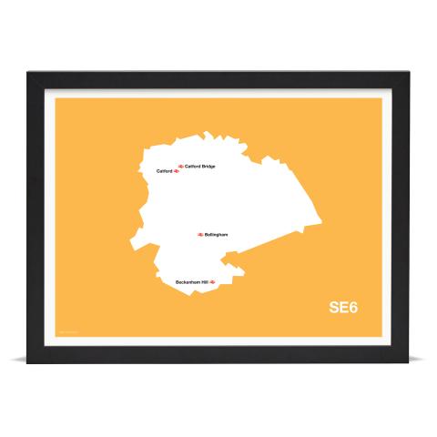 Place in Print MDL Thomson SE6 Postcode Map Yellow Art Print Black Frame