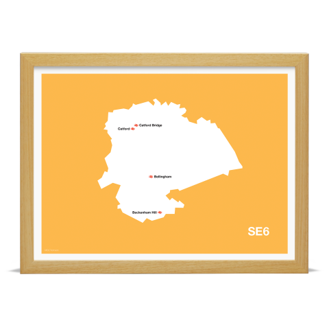 Place in Print MDL Thomson SE6 Postcode Map Yellow Art Print Wood Frame