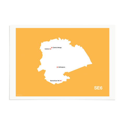 Place in Print MDL Thomson SE6 Postcode Map Yellow Art Print Unframed