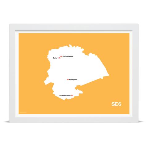 Place in Print MDL Thomson SE6 Postcode Map Yellow Art Print White Frame