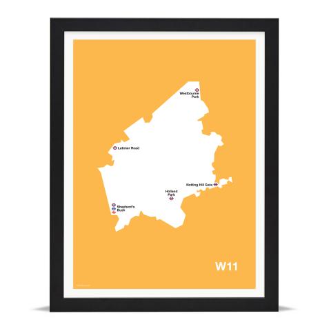Place in Print MDL Thomson W11 Postcode Map Yellow Art Print Black Frame