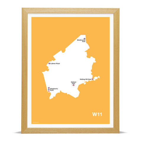 Place in Print MDL Thomson W11 Postcode Map Yellow Art Print Wood Frame