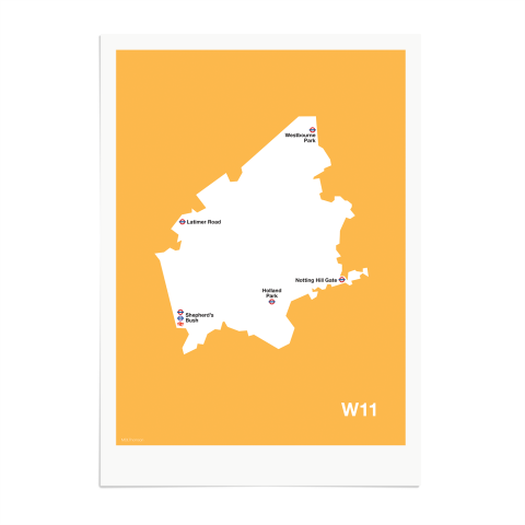 Place in Print MDL Thomson W11 Postcode Map Yellow Art Print Unframed