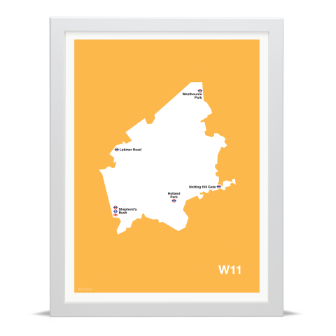Place in Print MDL Thomson W11 Postcode Map Yellow Art Print White Frame