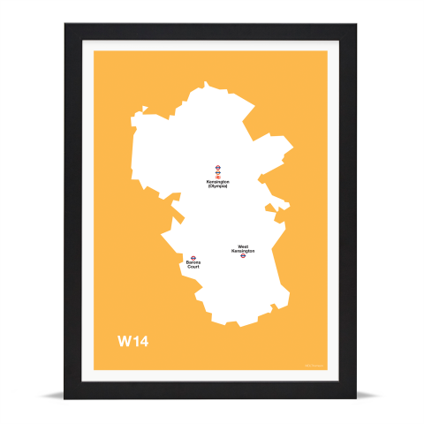 Place in Print MDL Thomson W14 Postcode Map Yellow Art Print Black Frame