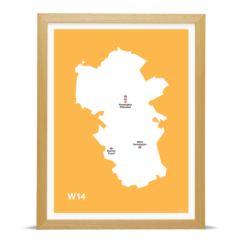 Place in Print MDL Thomson W14 Postcode Map Yellow Art Print Wood Frame