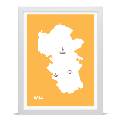 Place in Print MDL Thomson W14 Postcode Map Yellow Art Print White Frame