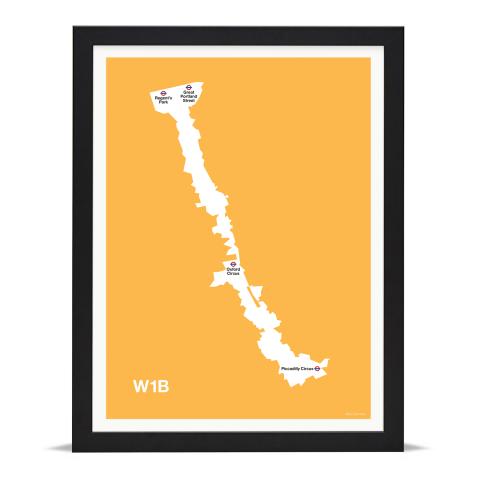 Place in Print MDL Thomson W1B Postcode Map Yellow Art Print Black Frame