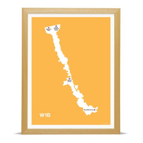 Place in Print MDL Thomson W1B Postcode Map Yellow Art Print Wood Frame