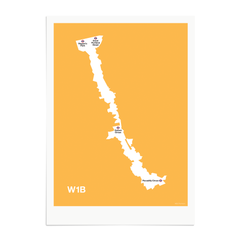 Place in Print MDL Thomson W1B Postcode Map Yellow Art Print Unframed