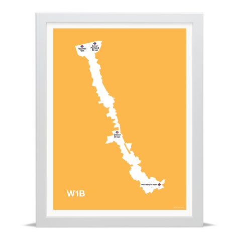 Place in Print MDL Thomson W1B Postcode Map Yellow Art Print White Frame