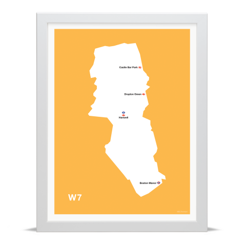 Place in Print MDL Thomson W7 Postcode Map Yellow Art Print White Frame