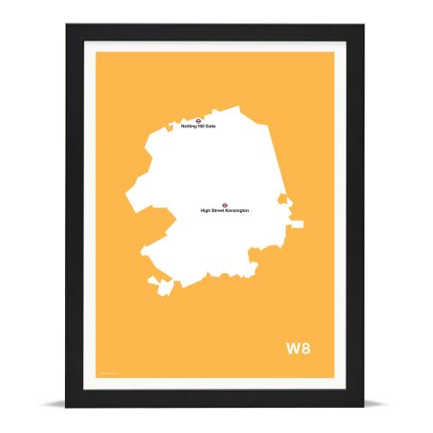 Place in Print MDL Thomson W8 Postcode Map Yellow Art Print Black Frame