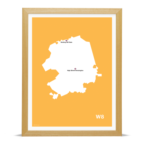 Place in Print MDL Thomson W8 Postcode Map Yellow Art Print Wood Frame
