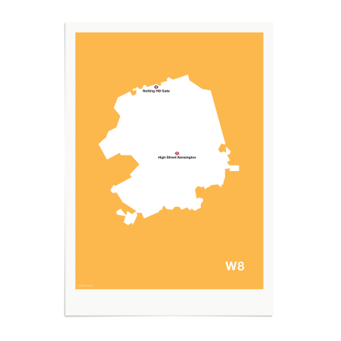 Place in Print MDL Thomson W8 Postcode Map Yellow Art Print Unframed