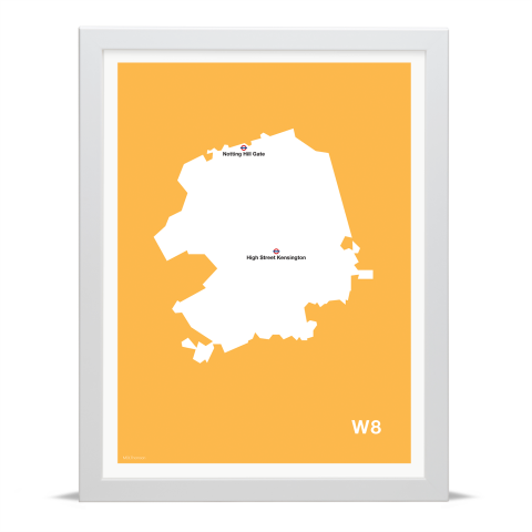 Place in Print MDL Thomson W8 Postcode Map Yellow Art Print White Frame