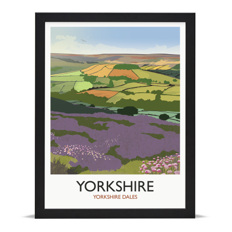 Place in Print Rick Smith Yorkshire Travel Poster Art Print 30x40cm Black Frame